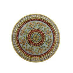 Indoor Marble Handicrafts Floral Round Tray for Home