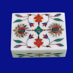 Marble Bird Design Inlay Box