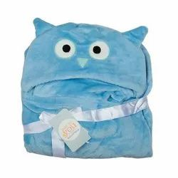 Baby Blanket With Hood Blue Cat