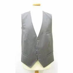 Polyester/Nylon Sleeveless Men Vest Valet Silver Waistcoat, Size: 80-85 (cm)
