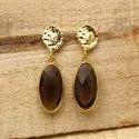 Gemx Jewellery Brass Smoky Quartz Gemstone Earring, Size: 10x20 Mm