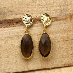 Gemx Jewellery Brass Smoky Quartz Gemstone Earring, Size: 10x20 Mm