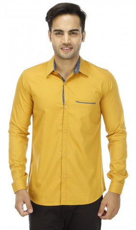 03fdc808158edd Solid Mustard Yellow Casual Shirt