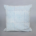 Zij Zag Leheriya Screen Print Cushion Cover White And Blue