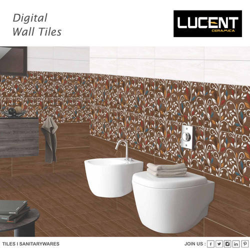 Lucent Ceramic Bathroom Ordinary Wall Tile, Thickness: 15-20 mm, Size: 20X30 Cm