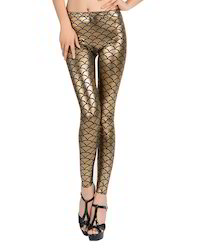 Gold Straight Fit Foil Printed Leggings, Size: Free Size