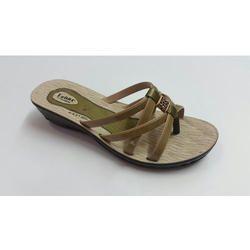 6b47d9394f6cb Brown PU Lehar Women Heels Slipper