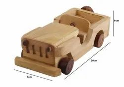 White Wooden Classical Vintage Open Car Jeep Toy, for Personal