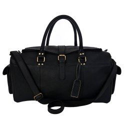 Black Genuine Leather Duffel Bag With Both Side Pocket
