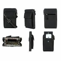 Synthetic Leather Black Sling Bags