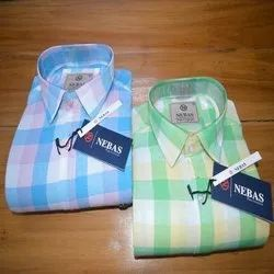 Collar Neck Checked Mens Fancy Check Cotton Shirt