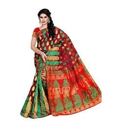 Veetrag Multicolor Jacquard Cotton Saree