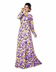Women's Long Sleeves Regular Fit Printed Maxi Dress with Pockets