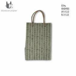 Linen Carry Bag (M) - beige waves print, jute rope handles