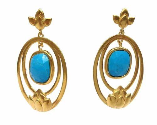 Gemvanity Sterling 925 Silver Designer Dangler Turquoise Earring