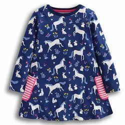 Navy Animal Print Full Sleeves Casual Dress