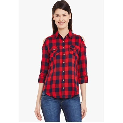 0d7659434 Ladies Cold Shoulder Checked Shirt at Rs 160 /piece | Girls Check ...
