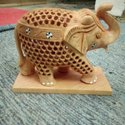Wooden Up Trunk Elephant Statue