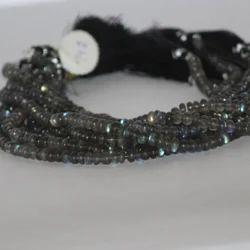 Natural Labradorite Rondelle Smooth Plain Beads