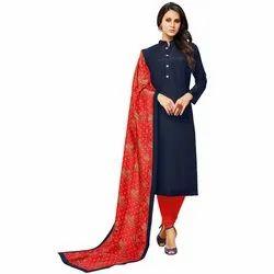 Rajnandini Navy Blue Chanderi Silk Plain Semi-Stitched Dress Material With Printed Dupatta