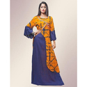 Rayon Full Sleeves Floor Length Printed A Line Gown, Size: M-xxl