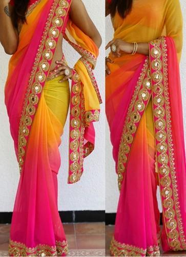 c9dd8786ee Party Wear Saree - New Pink & Yellow Georgette Padding Designer ...