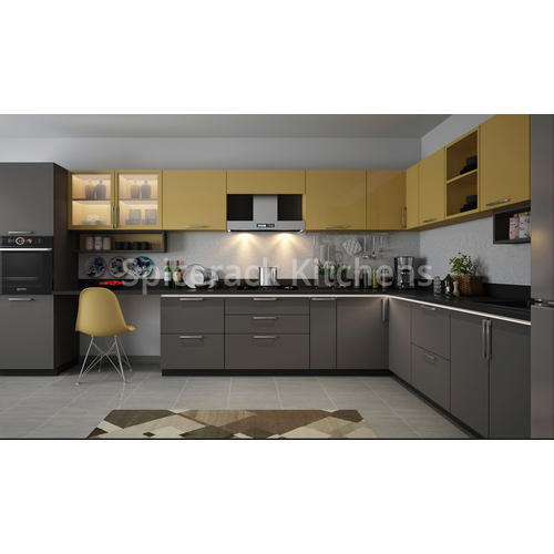 Plywood Granite L Shaped Dark Grey And Yellow Kitchen ...