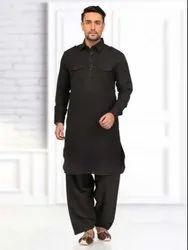 Cotton,jute cotton Men''s Royal Black Pathani Suit