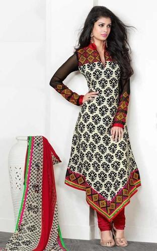 Cream Floral Cotton Designer Cool Salwar Suits Machine Wash Id