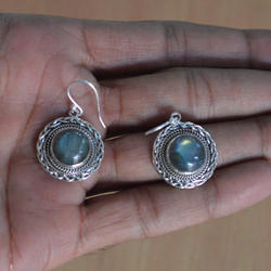 Earring Natural Gemstone Labradorite Earrings-Beautiful Stone Studs