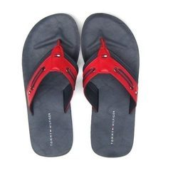 Black And Red Tommy Hilfiger Men's Flip Flop