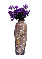 Designer Silver Embroidered Vase