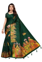 Khadi Cotton Silk Printed Jhumka Saree With Blouse
