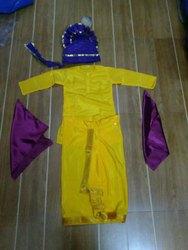 Yellow Satin Punjabi Bhangra Dress, Machine wash