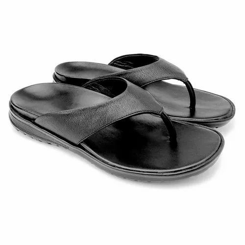 Casual Mens Black Leather Orthopedic Slippers, Size: 6-11