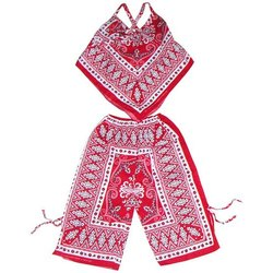 Cotton Printed Girl's Poncho and Pant Set