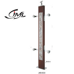 Brown Finish Designer Wooden Glass Pillar