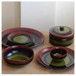 Black Green Dinner Set