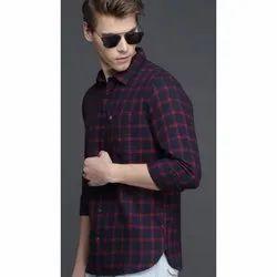 Collar Neck Mens Stylist Cotton Check Shirt, Size: S- XXL