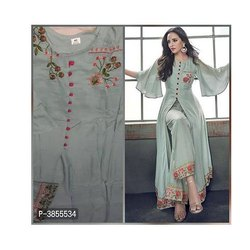 Rayon Ladies Embroidered Palazzo Suit