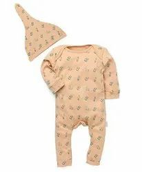 Unisex Casual Wear Organic Baby Jump Suit Printed with Cap