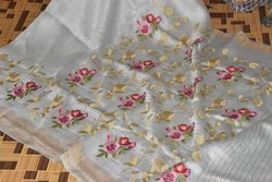 Silk Linen Embroidery Saree, Length: 6.3 mtrs