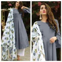 Anarkali Full Sleeve Beautiful Designer Satin Ladies Kurti