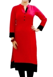 Red, Black Straight Rayon Cotton Kurti