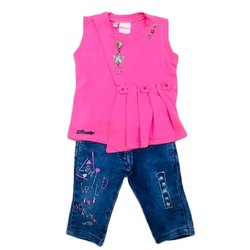 Casual Wear Kids Girl Top and Denim Jeans Set, Age: 1 - 6 Years