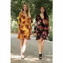 Full Sleeves Casual Wear Ladies Floral Printed Rayon Short Dress