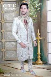 Banarasi Dupion Silk White Designer Kurta, Mandarin Collar