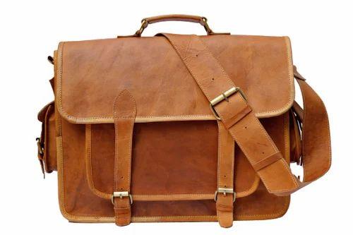Vintage Handmade Leather Messenger Bag For Laptop Briefcase