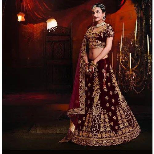 e4a94bcda8 Satin Maroon Bridal Lehenga, Sizes: S-XL, Rs 6500 /piece, Bhadani ...