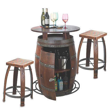 Natural Outdoor Vintage Oak Wine Barrel Bistro Table Bar Stools Capacity 300